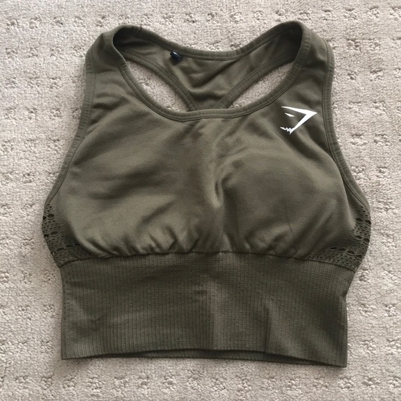 8adff6b6bc7b6 Gymshark Tops | Seamless Energy Crop Vest In Khaki Xs | Poshmark